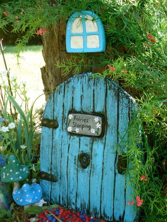 Fairy Door and Window Fairy Garden Outside by FairybehindtheDoor