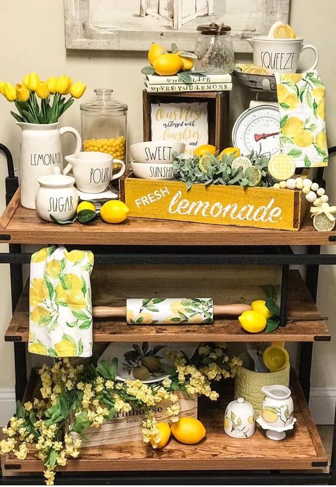 Lemonade Display Rae Dunn Lemon Lemon Decor Lemon Kitchen Decor Lemonade Decor
