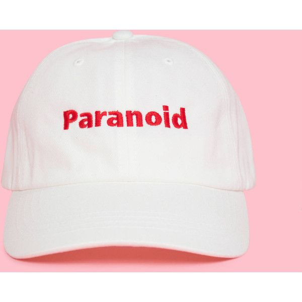 Paranoid, Tumblr Dad Hat, Cool Dad Hats, Paranoid Clothing, Aesthetic... ($24) ❤ liked on Polyvore featuring accessories, hats, summer hats, white sun hat, summer beach hats, beach hat and sun hat