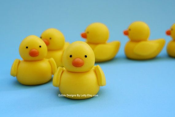 Rubber Duck Cupcake Toppers - 6 Edible fondant ducks for baby shower / birthday party