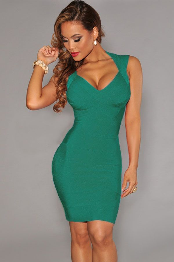 Green Crisscross Bust Bandage Dress