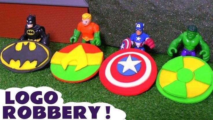 Batman Aquaman and Hulk Logo Robbery Play Doh Thomas and Friends Toy Sto...