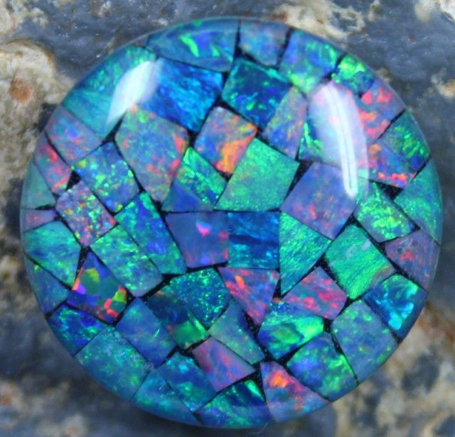 14.95 CTS TOP QUALITY ROUND MOSAIC OPAL ELECTRIC COLOR PLAY C5491