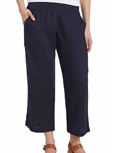 cd5861f9e44 Allen Company Allen Allen Women s Cropped Linen Pants Navy Blue ...