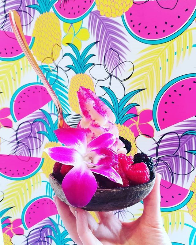 Reposting @frozenfruitco: If you are part of @offthemenu then this week is your lucky week (well despite the rain for two days). Say hello to our coconut bowls. Your choice of soft serve, two toppings, a 🌺 and a sprinkle of some pink dragon fruit powder.  The only way to get these is currently through @offthemenu ! . . . . . #montanaave #santamonica #losangeles #santamonicapier #la #lafood #lafoodie #vegan #veganfoodshare #vegans #vegansofig #plantbased #plantstrong #dairyfree #glutebfree