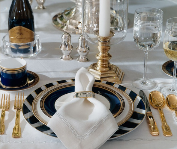 Mesa Posta - Azul com Dourado