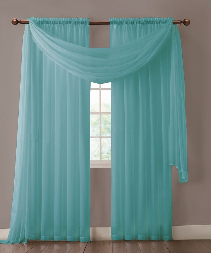 "Warm Home Designs extra wide Turquoise Blue curtains have total width of 112 inches. 2 panels (1 pair) is included in a package. Rod pocket insert will fit most rods up to 2"" in diameter. Scarf length is 216"". Both scarf and curtain sheers are made from high-quality polyester and are designed to let most of the sun light through while offering some privacy at night."