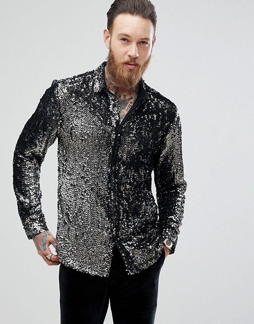 37170971748d ASOS Regular Fit Sequin Shirt In Silver | asos men