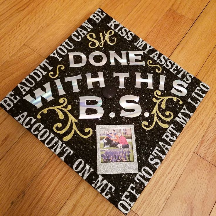 "10 Likes, 2 Comments - Morgan Saccone (@morgansaccwhon) on Instagram: ""FINALLY FINISHED MY CAP! Accounting puns, glitter, and holo. Could something be more like me?…"""