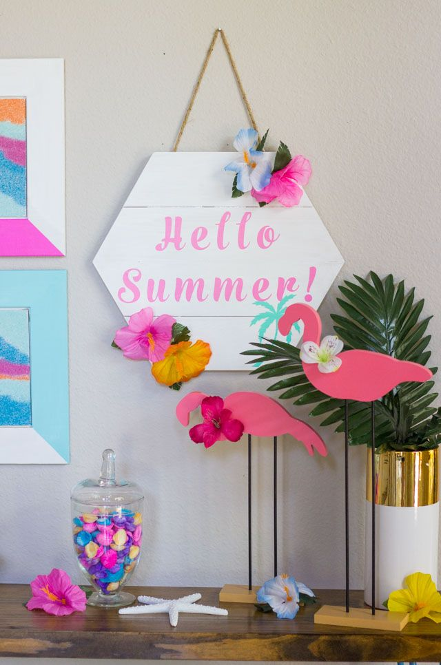 Hello Summer Diy Tropical Decor Ideas Summer Wood Sign