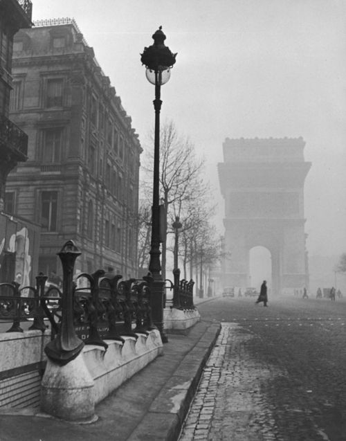 view showing the ARC de triomphe and the subway station, paris, february 1946