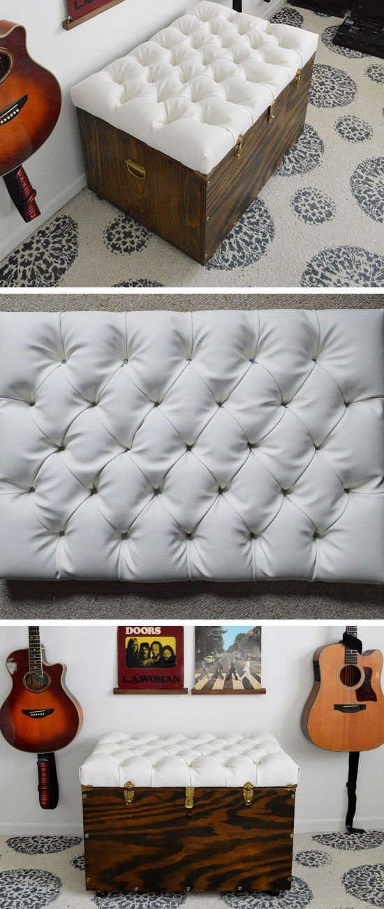 Tufted Storage Ottoman | Small Apartment Decorating Ideas on a Budget
