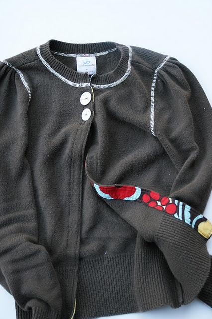 turn sweater into a cardigan  homemadeginger.com