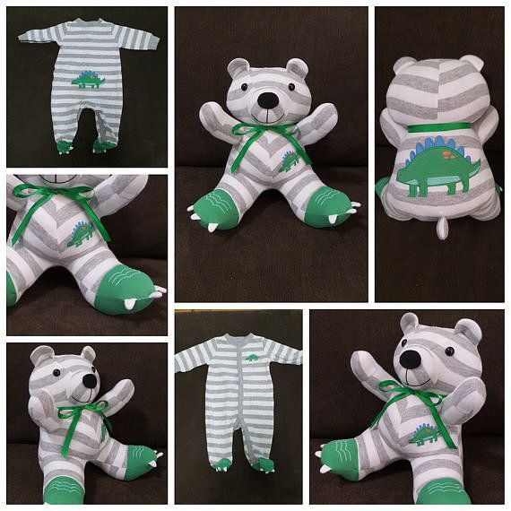 Turn your favorite baby onesie into a keepsake. Custom Sleeper Teddy Bear ($35)