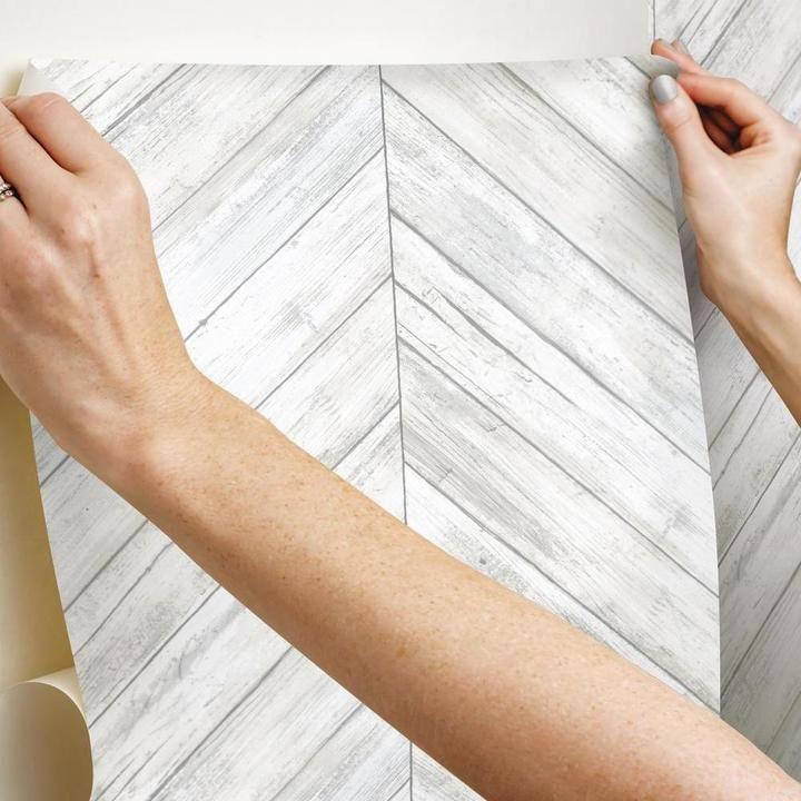 Herringbone Wood Boards Peel And Stick Wallpaper In 2020 Peel And Stick Wallpaper Herringbone Wood Wood Board