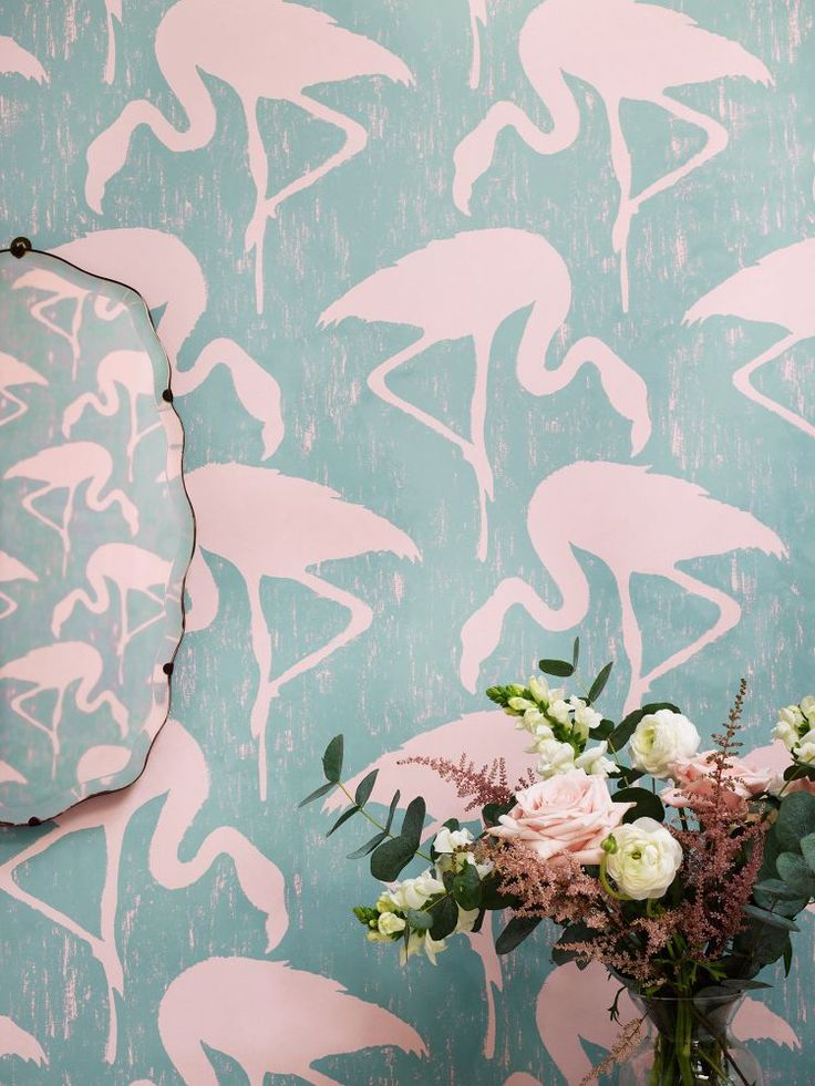 A striking #flamingo #wallpaper design by Sanderson.