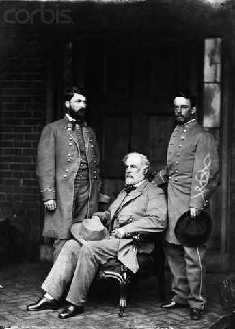 General Robert E Lee at Appomattox Courthouse, VA during surrender of the Confederate Army to General Ulysses Grant
