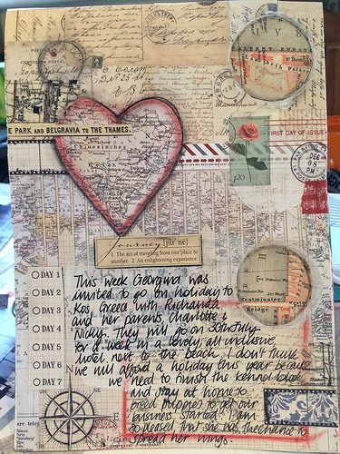Travel art journal page