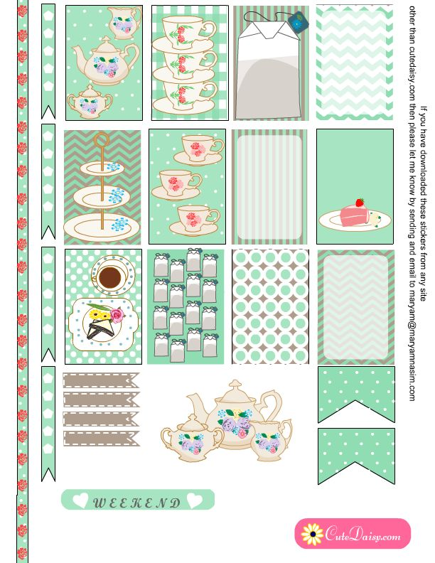 FREE printable Tea themed Planner Stickers in Mint Color