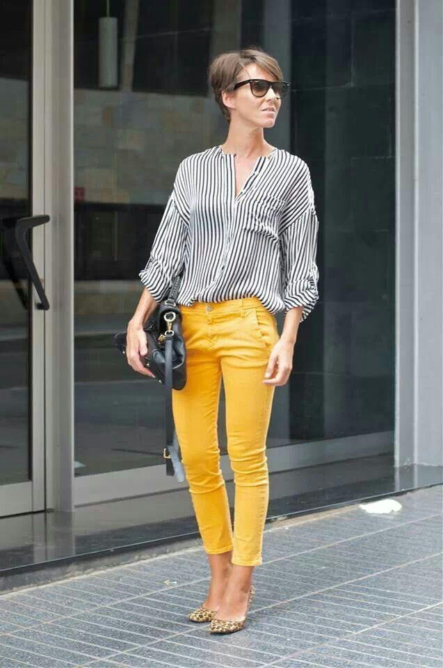 Calça yellow jeans + Blusa de listra