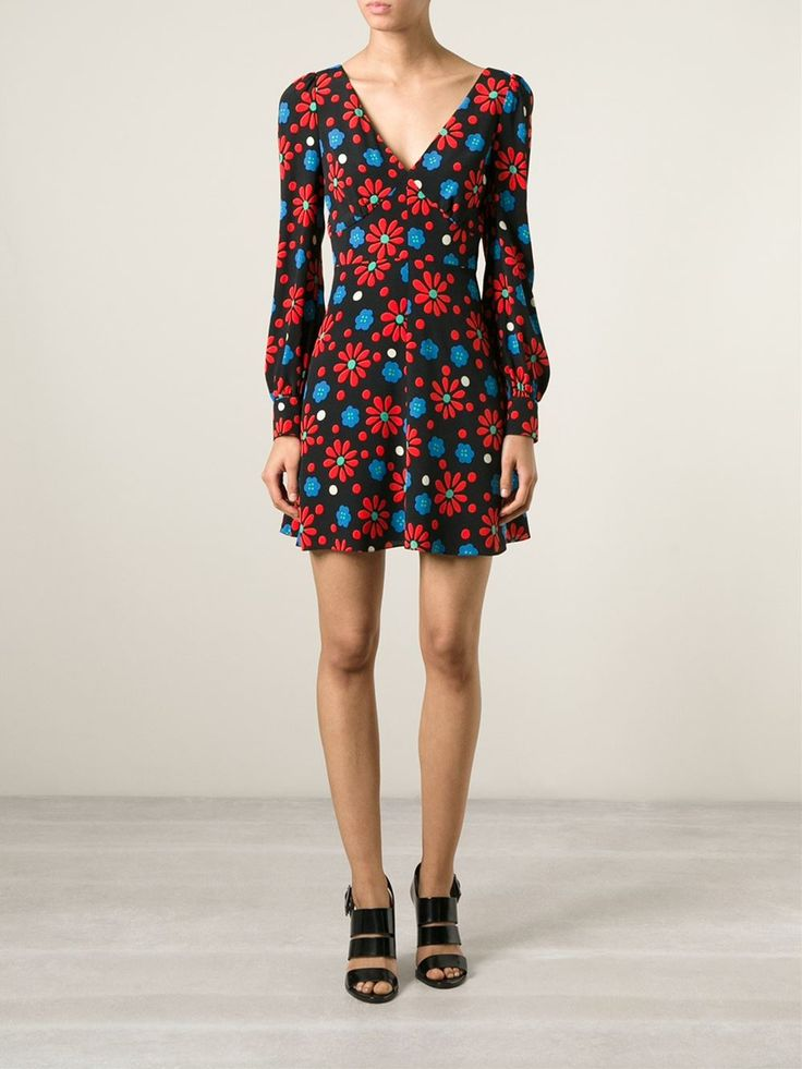 Black, red and blue silk shift dress from Saint Laurent