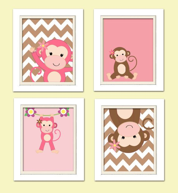 Nursery Quad, Pink and Brown Nursery, Monkey Nursery, Set of 4 8X10, Pink, Brown