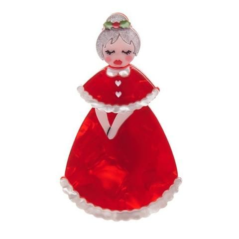 """Erstwilder Limited Edition Mrs. Claus Brooch. """"Santa has it easy, he has to work one night per year. Guess who spends the rest of the year looking after the elves and reindeer?"""""""