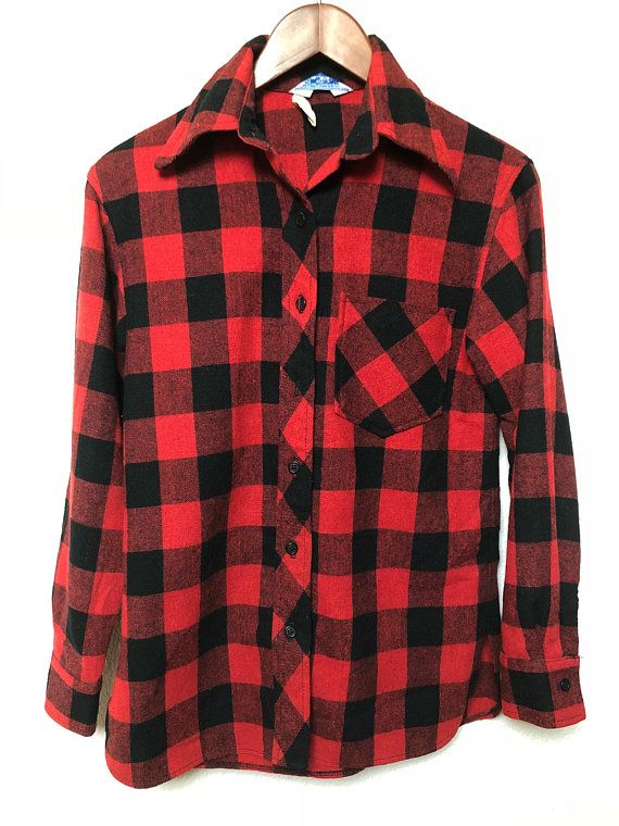 Red Plaid Shirt Vintage Flannel Shirt Red Checkered Button Up Shirt Red and Grey Plaid Pattern Vintage Button Down Shirt Large Flannel Shirt