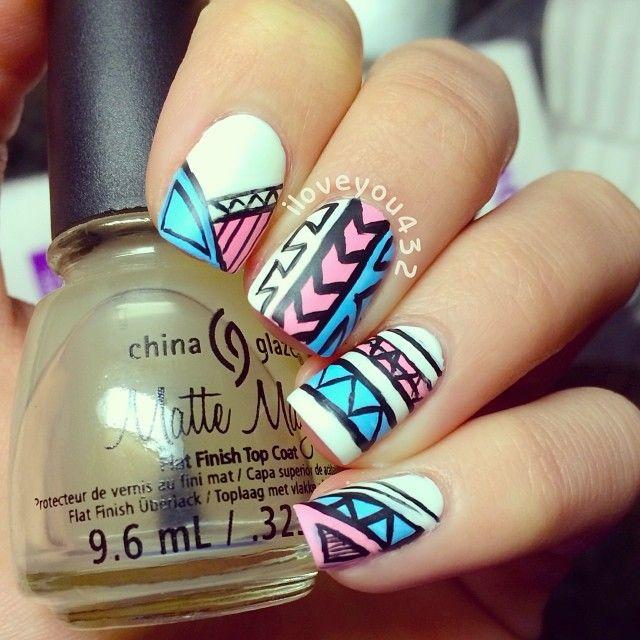 Tribal nails. China Glaze. Nail Art. Nail Design. Polishes. Polish. Instagram by iloveyou432