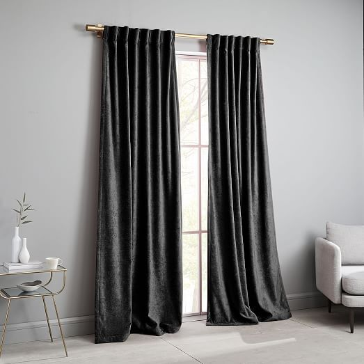 Oversized Adjustable Metal Rod Antique Brass In 2020 Velvet Curtains Living Room Decor Curtains Curtains
