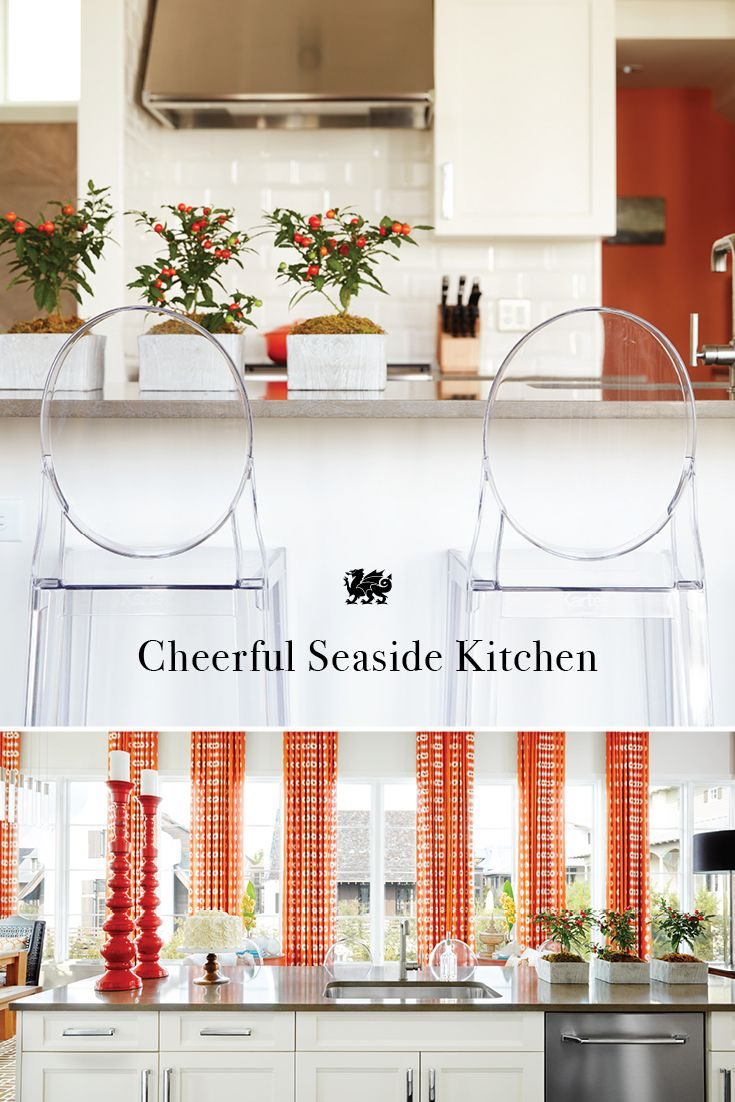 Sunny pops of orange. Translucent ghost stools. A welcoming kitchen island in warm neutrals. A quartz countertop in Cambria's Collybrooke™ design, reminiscent of dark beach sand. Playful plants and candlestick pillars. Each detail of Vern Yip's coastal kitchen is as refreshing and joyful as a day at the beach.