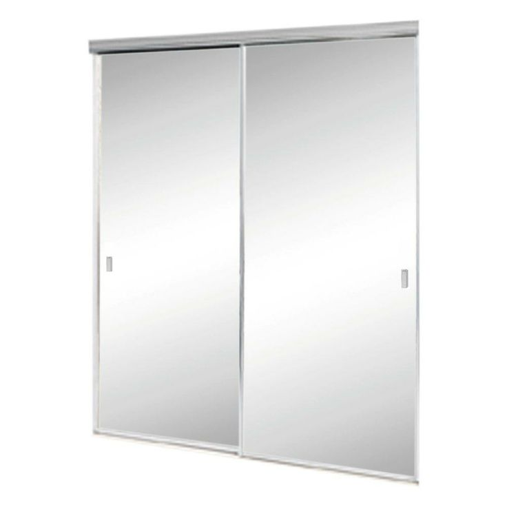 Contractors Wardrobe 72 In. X 80 In. Aurora Aluminum Brushed Nickel  Mirrored Sliding   The Home Depot