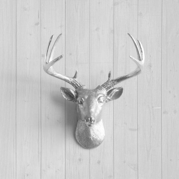 Silver Mini Deer by Wall Charmers™ - Faux Head Fake Animal Resin Ceramic Taxidermy Decorative Stag Antler Mount Fauxidermy Replica Decor Art