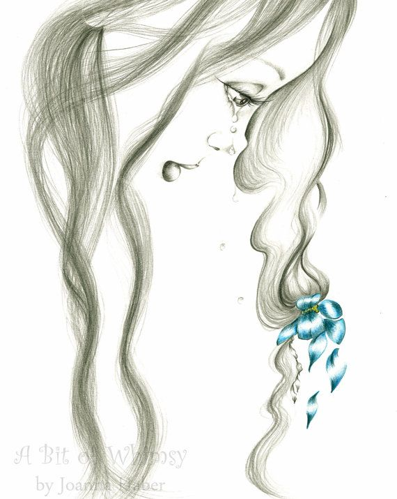 Pencil Drawing Fine Art Giclee Print of my Original Pencil Drawing, Fantasy Fine Art Blue Grey