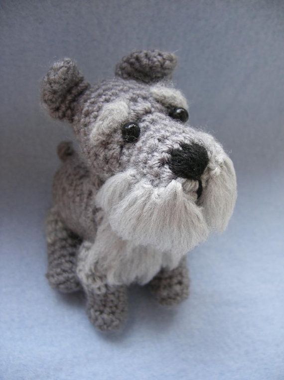 *** Please note that this is only a pattern, not a finished toy! *** I do NOT crochet them for sale at the moment, I only sell the pattern. Sorry for the inconvenience. ***   This is a crochet pattern for a schnauzer. The finished toy will measure about 4 inches (10cm) standing. The pattern includes a number of helpful photos that should help you while making this cute little dog. All the instructions and terms are in US English.  Feel free to ask if you have any questions :)  *** Please…