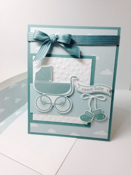 Stampin' Up! Something for Baby, Itty Bitty Banners, Sweet Dreams dsp (Occasions 2015), Lost Lagoon ribbon & cs, Soft Sky cs Please check out my blog at:  http://shellsq.blogspot.com