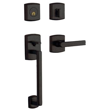 Front Door Hardware All Hardware in Flat Black Modern. Baldwin Soho Handleset 85386