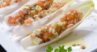 Receta de Ensalada de endibias y salmón ahumado con vinagreta