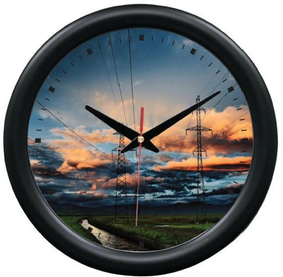 SUNSET POWERLINES Lineman Utility Company Wall Clock Decor ...