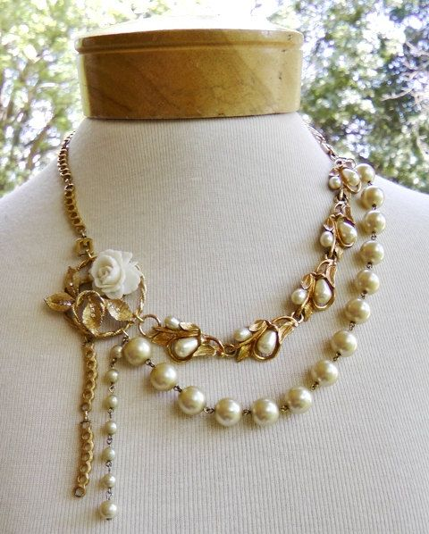 Handmade+wedding+necklace,+upcycled+repurposed+vintage+necklace,+bride,+vintage+wedding