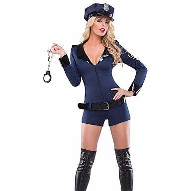 Fantasias de Cosplay Policial Cosplay de Filmes Azul Cor Única Malha Collant/Pijama Macacão / Chapéu Dia Das Bruxas / Natal / Ano Novo de 5282647 2016 por R$101,37