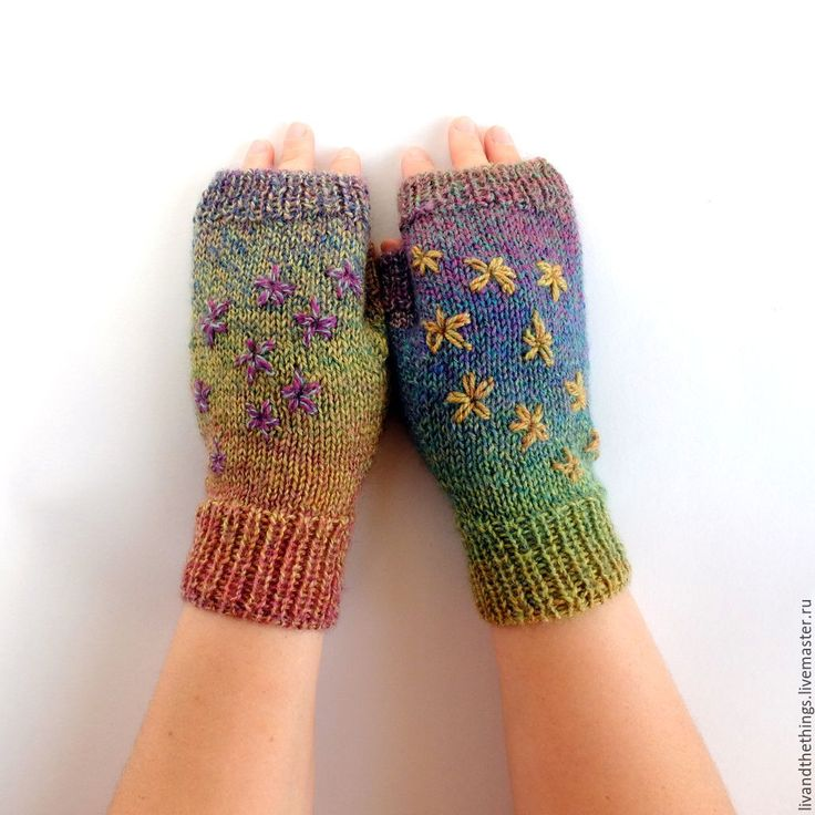 Colorful knitted mittens