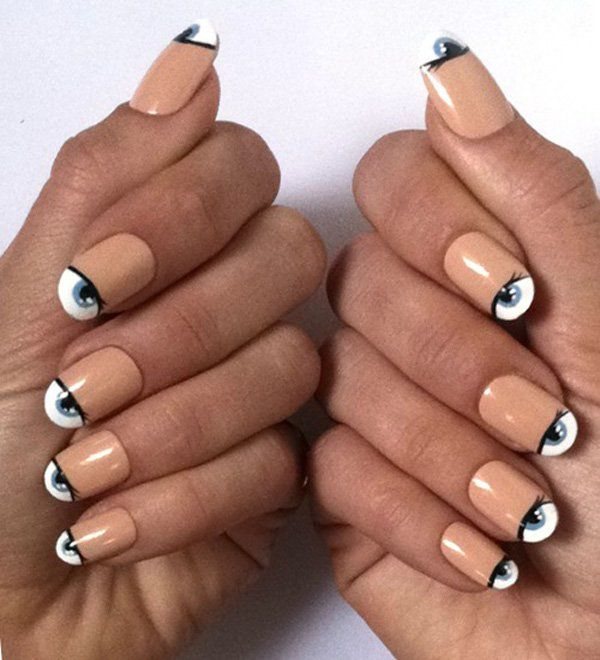neutral nails with starring eyes.