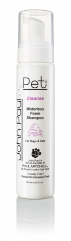 Received this as a gift and thought it was pretty ridiculous, but my dog loves having it massaged into his hair, and loves that he doesn't have to get wet to get clean! - Waterless Foam Shampoo by Paul Mitchell