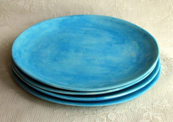 Need these too. . . Crackle turquiose handbuilt dinner plates by Lesliefreemandesigns, $120.00