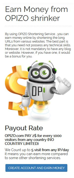 Earn Money from OPIZO Shrinker , old , %100 trusted and secure . make money online , earn free money