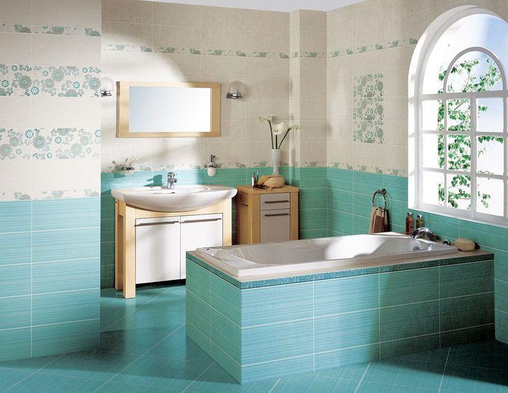 Красивая кафельная плитка для отделки ванной комнаты в голубом цвете
