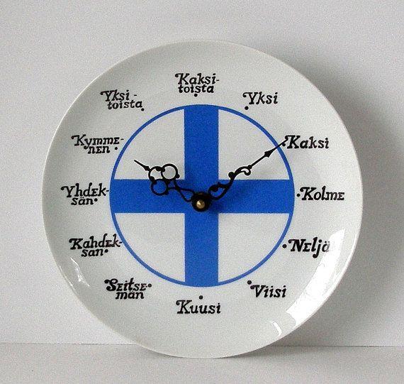 Vintage  Finnish Flag Ceramic  PLATE CLOCK by TheTimelyEmporium, $40.00