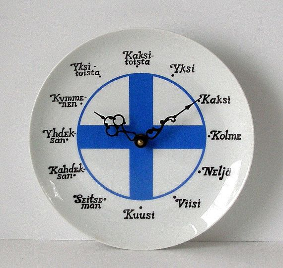 Vintage Finnish Flag Ceramic PLATE CLOCK by TheTimelyEmporium, $40.00