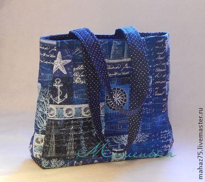 """Сумка """" По морям, по волнам"""" - синий,рисунок,морская,якорь,сумка на лето"""